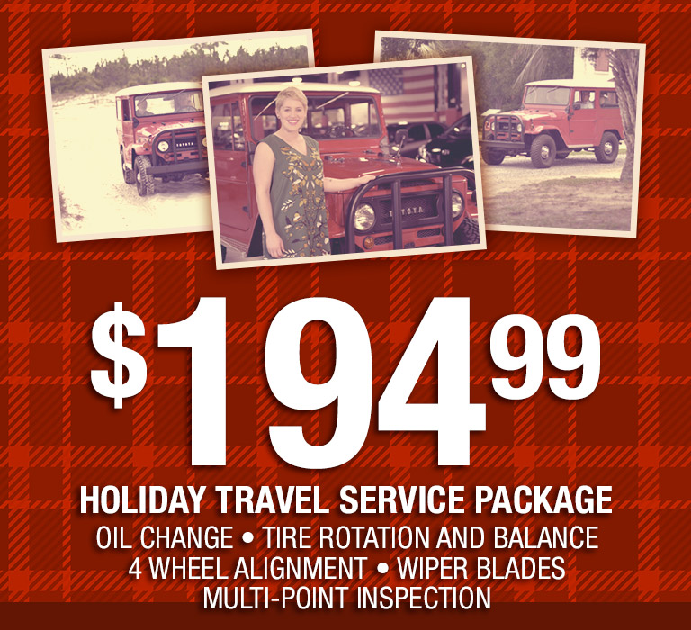 Holiday Travel Service Package: $194.99 for: Oil Change, Tire Rotation and Balance, 4 Wheel Alignment, Wiper Blades and Multi-point Inspection