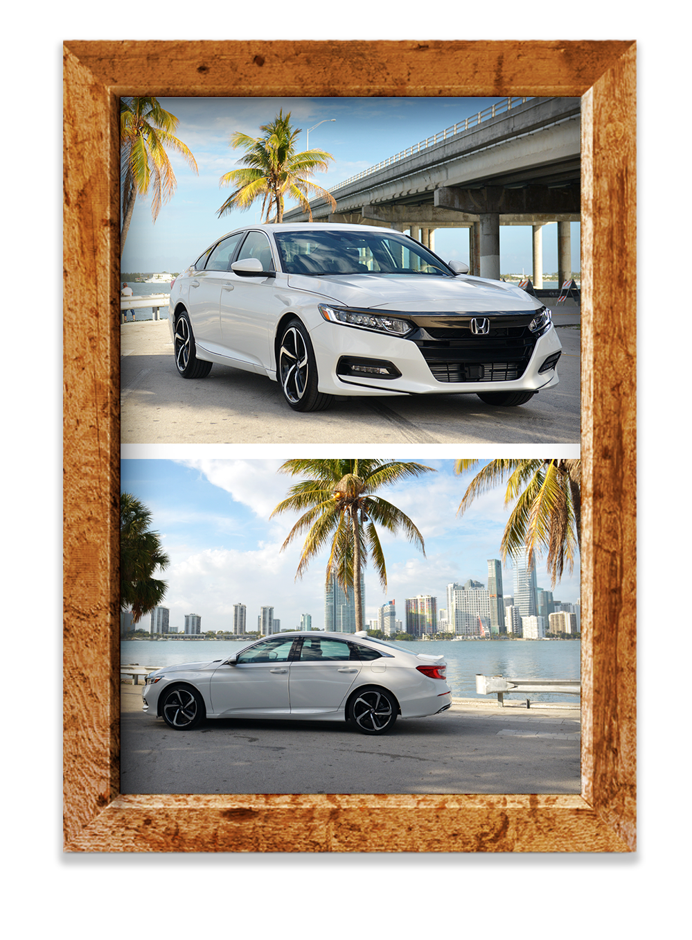 Wooden picture frame, Honda Accord under highway, divider line, Honda Accord with Miami city line behind them
