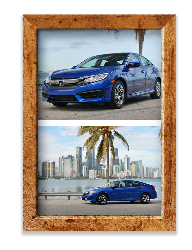 Wooden picture frame, Honda Civic on road, divider line, Honda Accord with Miami city line behind them