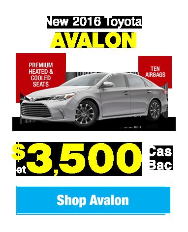 New 2016 Toyota Avalon: Get $3,500 Cash Back!