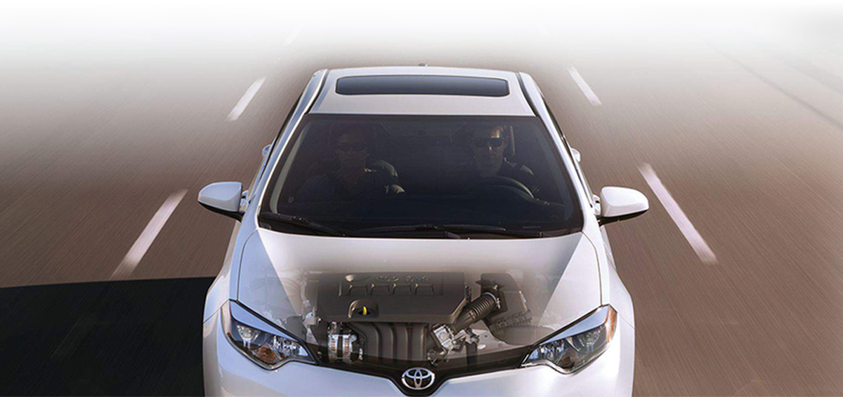 Toyota Camry, the image shows the engine inside