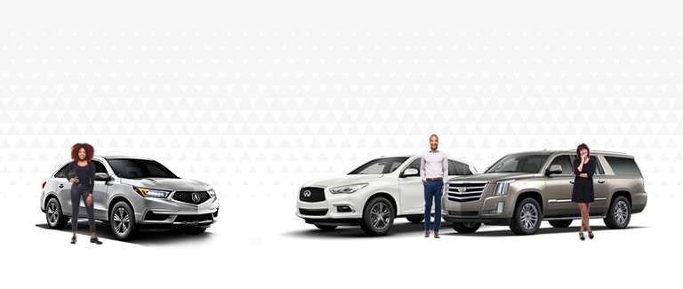 Image of professional adults by their luxury vehicles