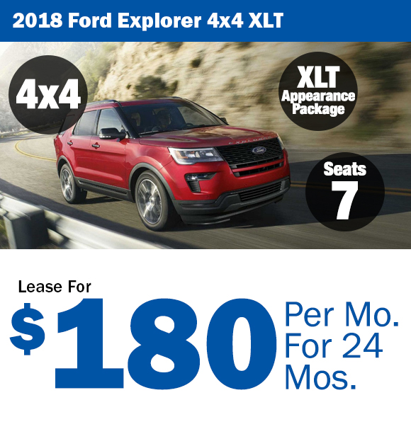2018 Ford Explorer: Lease For $180/mo.