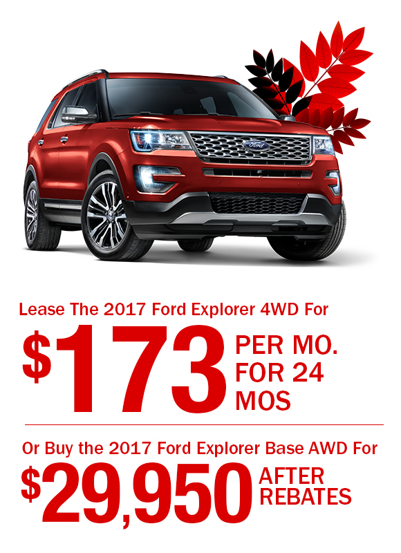 2017 Ford Explorer: Lease For $173/mo. or Buy the 2017 Ford Explorer For $29,950