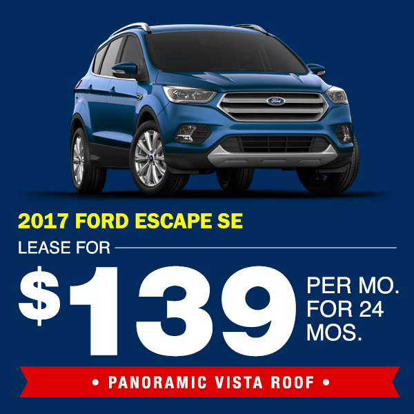 2017 Ford Escape SE With Panoramic Vista Roof Lease for $139 per mo. for  sc 1 st  Metro Ford & New Vehicle Lease Specials | Metro Ford markmcfarlin.com