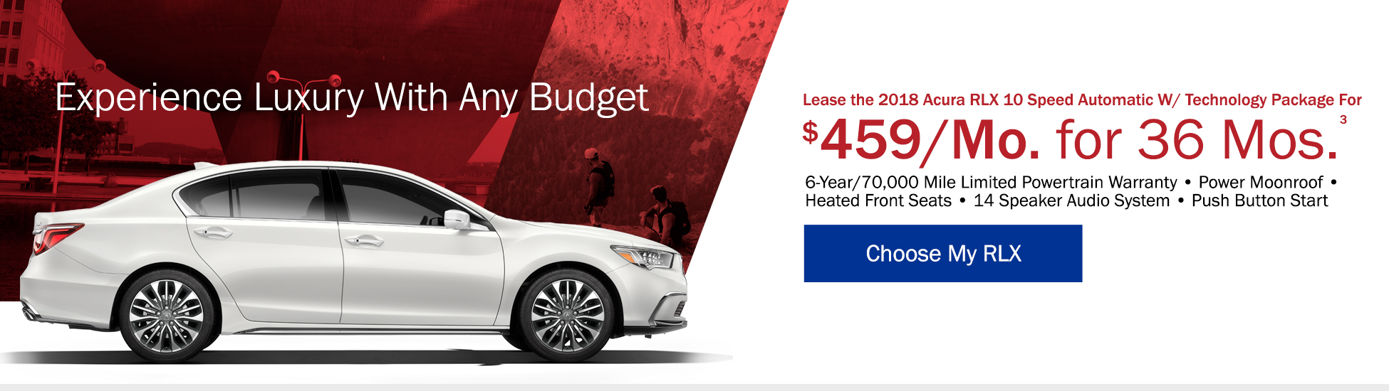 Lease the 2018 Acura RLX 10 Speed Automatic with Tech Pacagke for $519 per month for 36 months - Shop RLX
