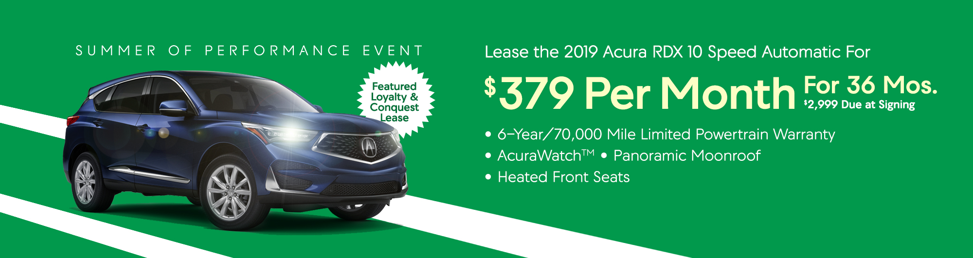 Lease the 2019 Acura RDX 10 Speed Automatic for $379 per month, $2,999 Due at Signing