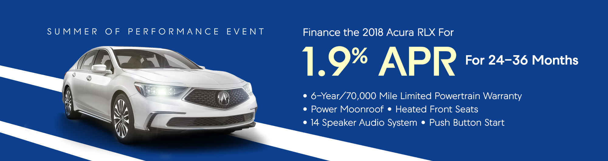 Finance the 2018 Acura RLX for 1.9% APR For 24-36 Months
