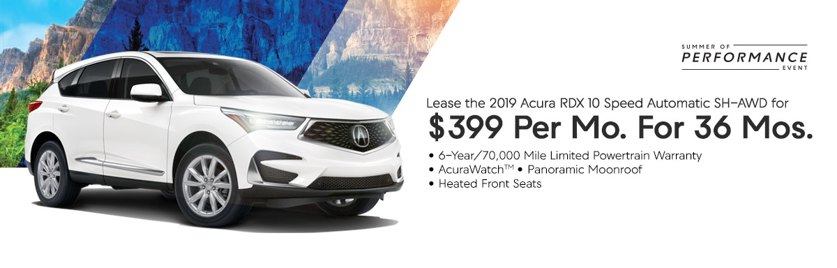 Lease the 2019 Acura RDX 10 Speed Automatic for $399 Per Month for 36 Months
