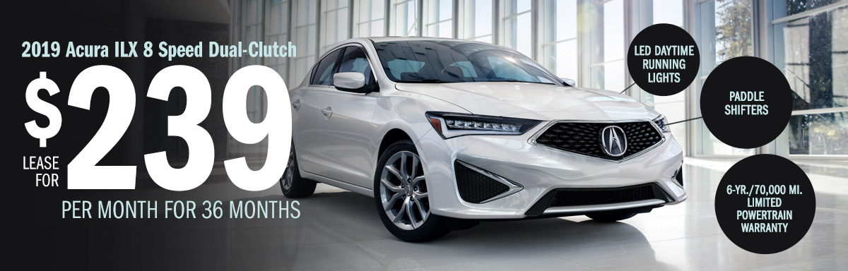 Lease the 2019 Acura ILX 8 Speed Dual-Clutch for $239 Per Month for 36 Months