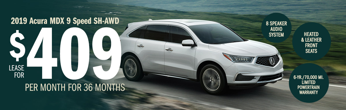 Lease the 2019 Acura MDX 9 Speed Automatic for $409 Per Month for 36 Months