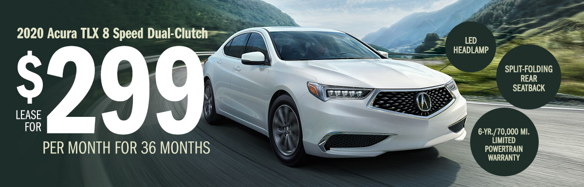 Lease the 2020 Acura TLX 8 Speed Dual-Clutch for $299 Per Month for 36 Months