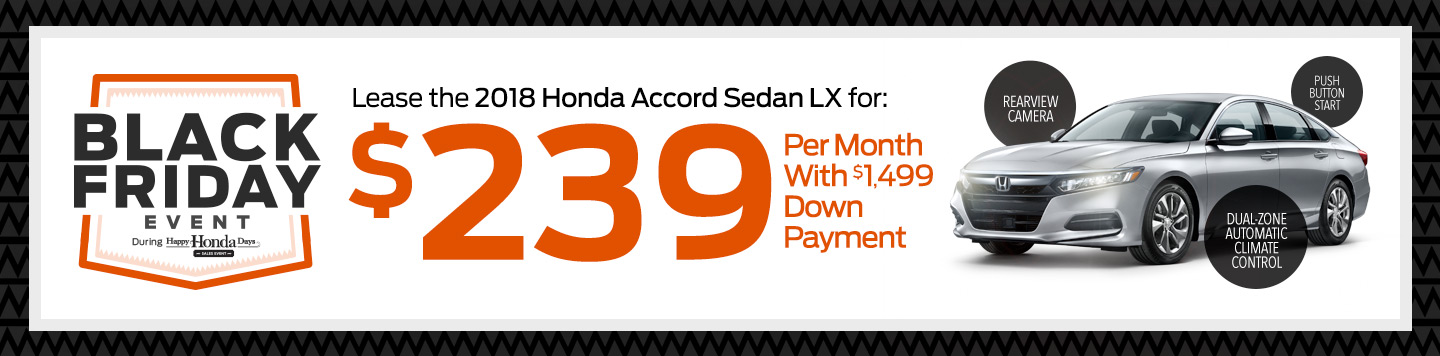 Lease the 2018 Honda Accord Sedan LX at Saratoga Honda: $239 Per Month With $1,499 Down Payment