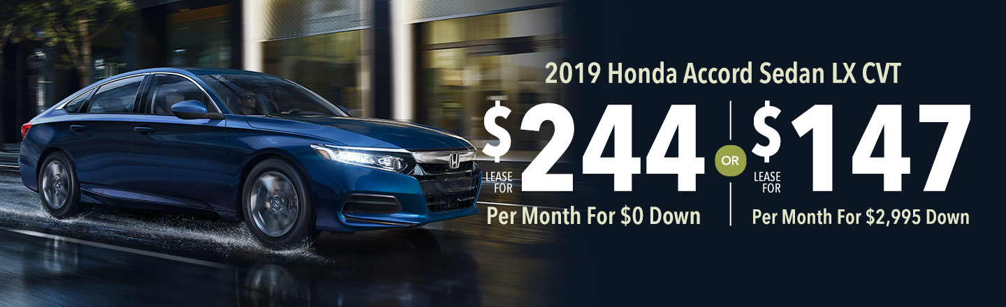 Lease the 2019 Honda Accord Sedan LX for $147 Per Month For 36 Months with $2,995 Down