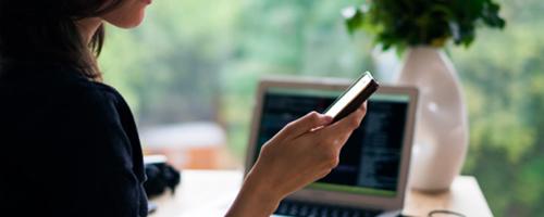 Women looking at smart phone