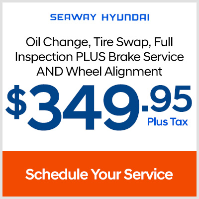 Oil change, tire swap, full inspection plus a brake service and wheel alignment - $349.95 plus tax