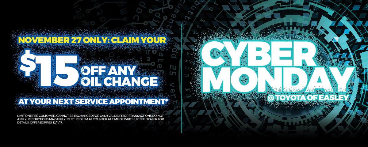 Don't miss out on Toyota of Easley's Cyber Monday Offer!