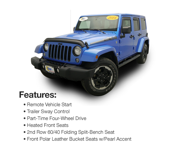 2014 Jeep Wrangler Unlimited Polar Edition 4WD : Lease for $510 per mo. For 39 mos. or lease $458 per mo. for 48 mos.
