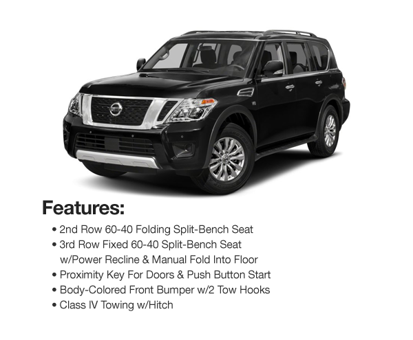 2017 Nissan Armada SV AWD : Lease for $527 per mo. For 39 mos. or lease $508 per mo. for 48 mos..