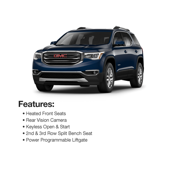 2017 GMC Acadia SLE AWD: Lease for $417 per mo. for 39 mos. or Lease $408 per mo. for 48 mos.