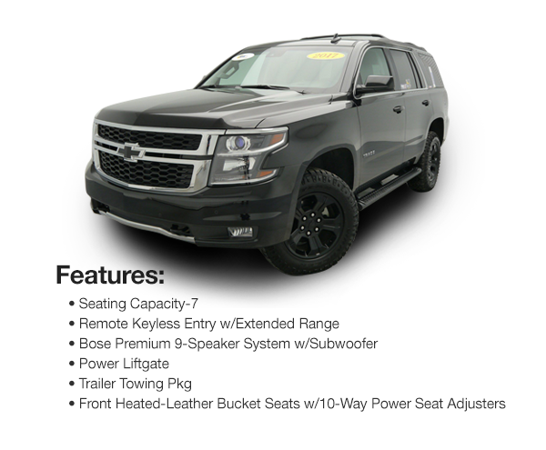 2017 Chevy Tahoe LT Z71 4WD : Lease for $779 per mo. For 39 mos. or lease $734 per mo. for 48 mos.