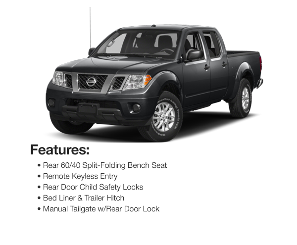 2017 Nissan Frontier SV V6 Crew Cab 4WDS : Lease for $302 per mo. For 39 mos. or lease $289 per mo. for 48 mos.