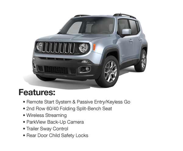 2017 Jeep Renegade Latitude Sport 4WD : Lease for $332 per mo. For 39 mos. or lease $292 per mo. for 48 mos.
