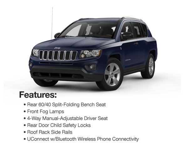 2016 Jeep Compass Sport 4WD : Lease for $289 per mo. For 39 mos. or lease $268 per mo. for 48 mos.