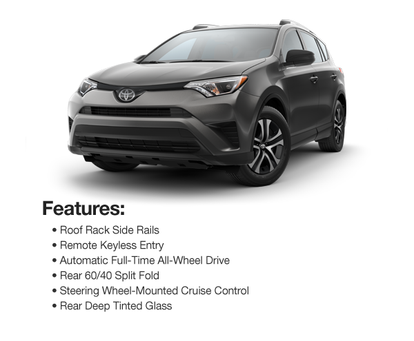 2016 Toyota RAV4 LE AWD : Lease for $346 per mo. For 39 mos. or lease $312 per mo. for 48 mos.