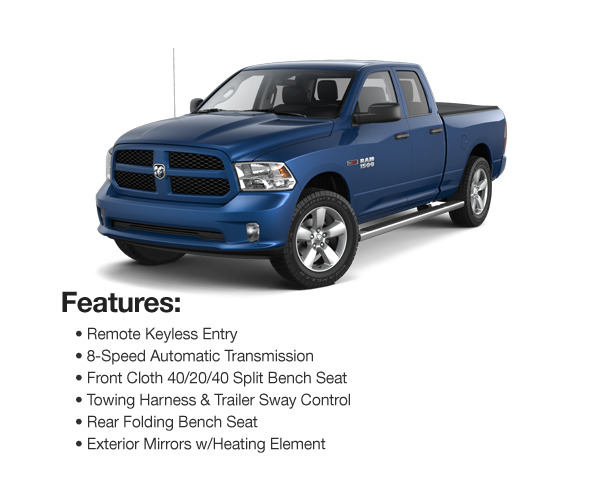 2016 Ram 1500 Express Quad Cab 4WD : Lease for $408 per mo. For 39 mos. or lease $382 per mo. for 48 mos.