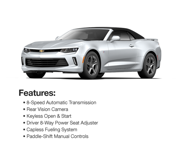 2017 Chevy Camaro LT Convertible : Lease for $441 per mo. For 39 mos. or lease $394 per mo. for 48 mos.