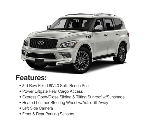 2017 Infinity QX80 AWD : Lease for $710 per mo. For 39 mos. or lease $680 per mo. for 48 mos.