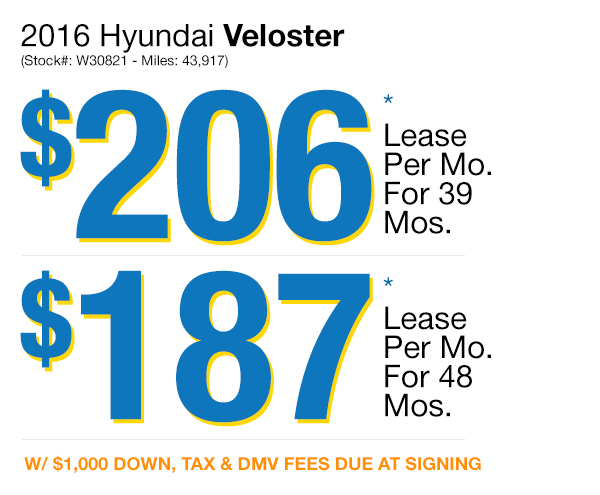 2016 Hyundai Veloster : Lease for $206 per mo. for 39 mos. or Lease $186 per mo. for 48 mos.