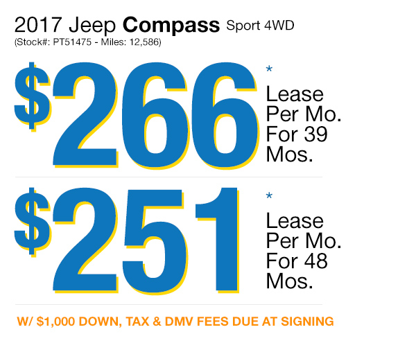 2017 Jeep Compass Sport : Lease for $266 per mo. for 39 mos. or Lease $251 per mo. for 48 mos.