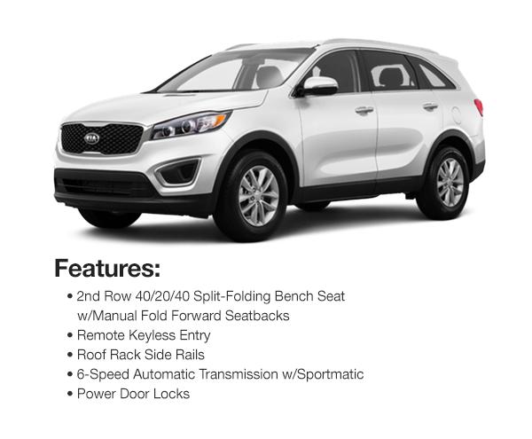 2016 Kia Sorento LX AWD: Lease for $325 per mo. for 39 mos. or Lease $296 per mo. for 48 mos.