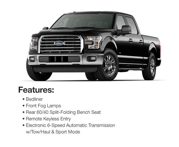 2017 Ford F-150 XLT Crew Cab: Lease for $425 per mo. for 39 mos. or Lease $410 per mo. for 48 mos.