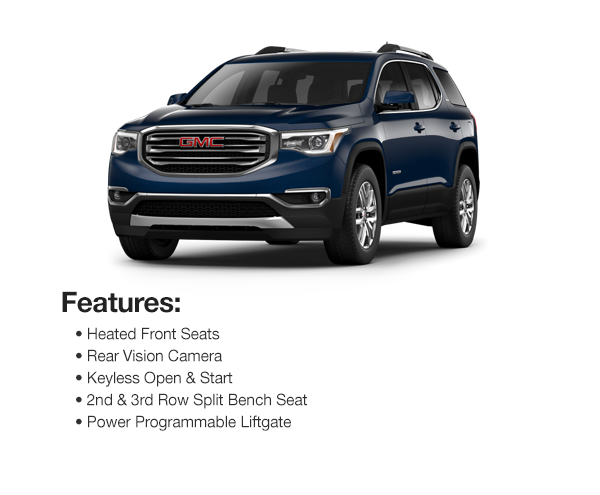 2017 GMC Acadia SLE AWD: Lease for $457 per mo. for 39 mos. or Lease $438 per mo. for 48 mos.