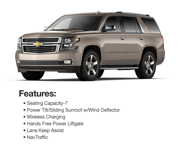2017 Chevy Tahoe Premier 4WD: Lease for $935 per mo. for 39 mos. or Lease $854 per mo. for 48 mos.