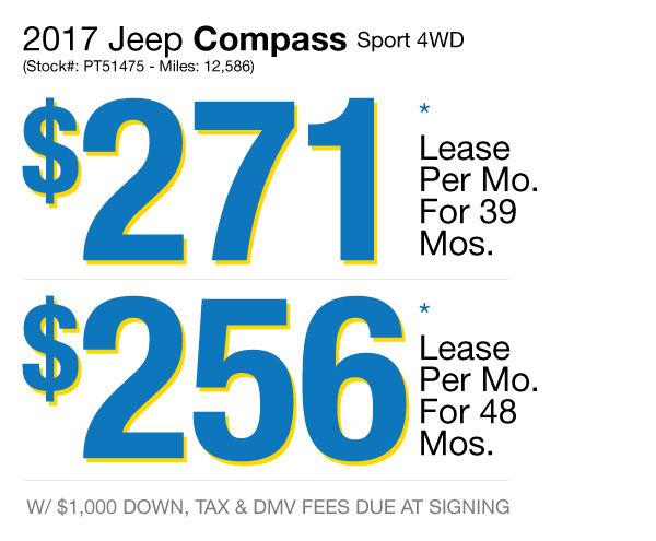 2017 Jeep Compass Sport : Lease for $271 per mo. for 39 mos. or Lease $256 per mo. for 48 mos.