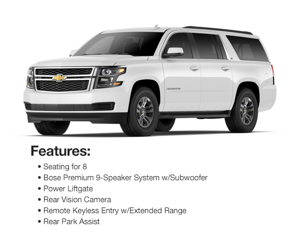2016 Chevy Suburban LT 4WD: Lease for $613 per mo. for 39 mos. or Lease $569 per mo. for 48 mos.
