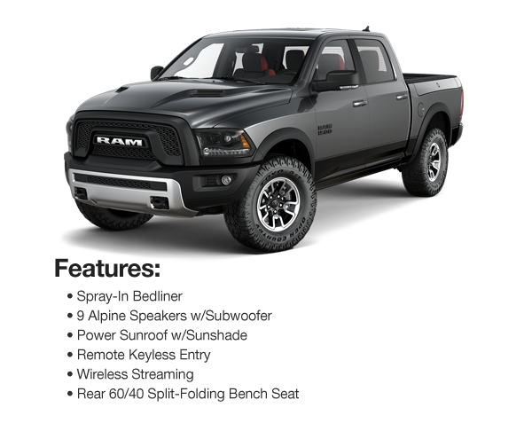 2017 Ram 1500 Rebel Crew Cab 4WD: $639 Lease Per Mo. For 39 Mos. or $598 Lease Per Mo. For 48 Mos.